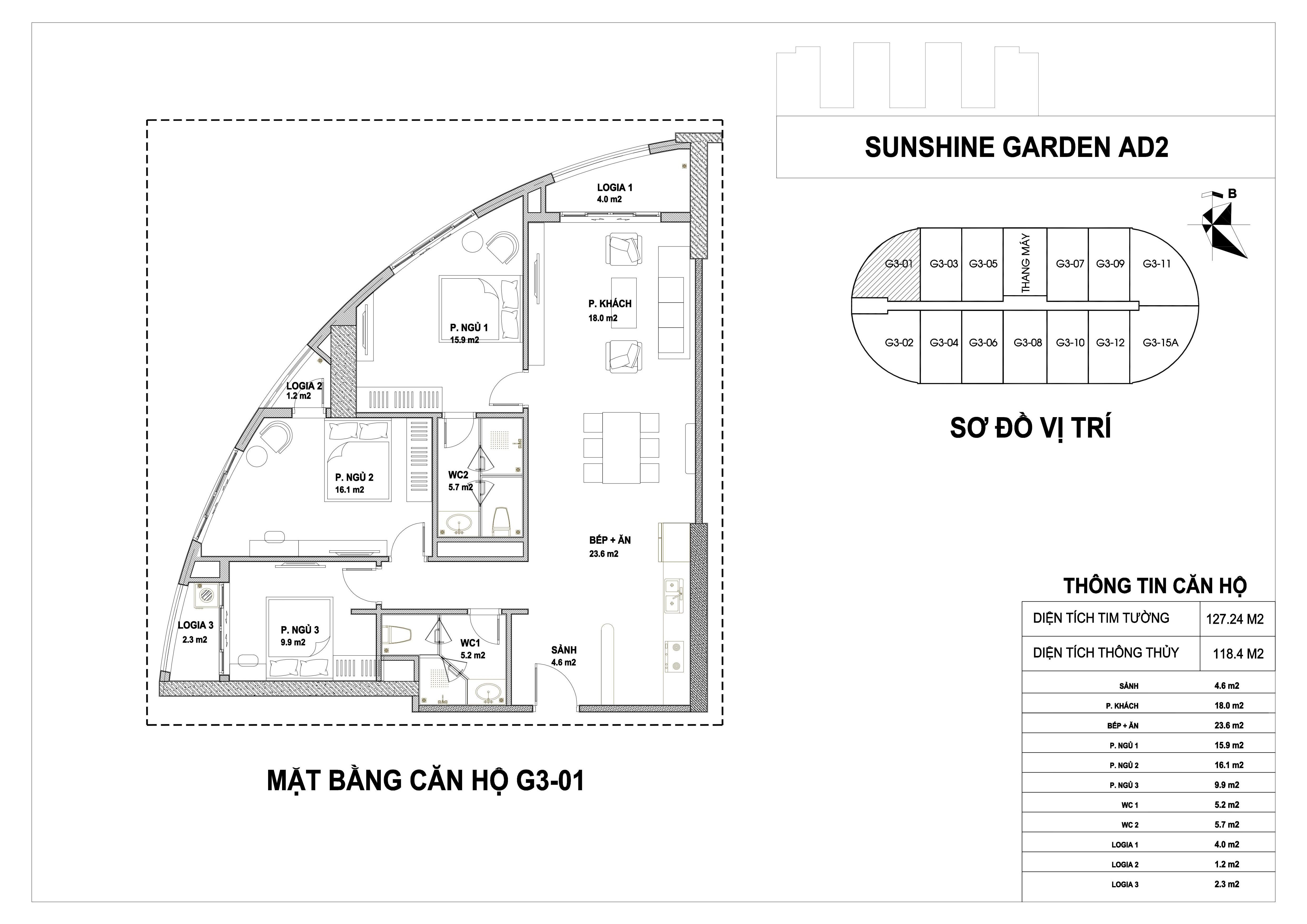 mặt bằng dự án căn hộ Sunshine Garden G3