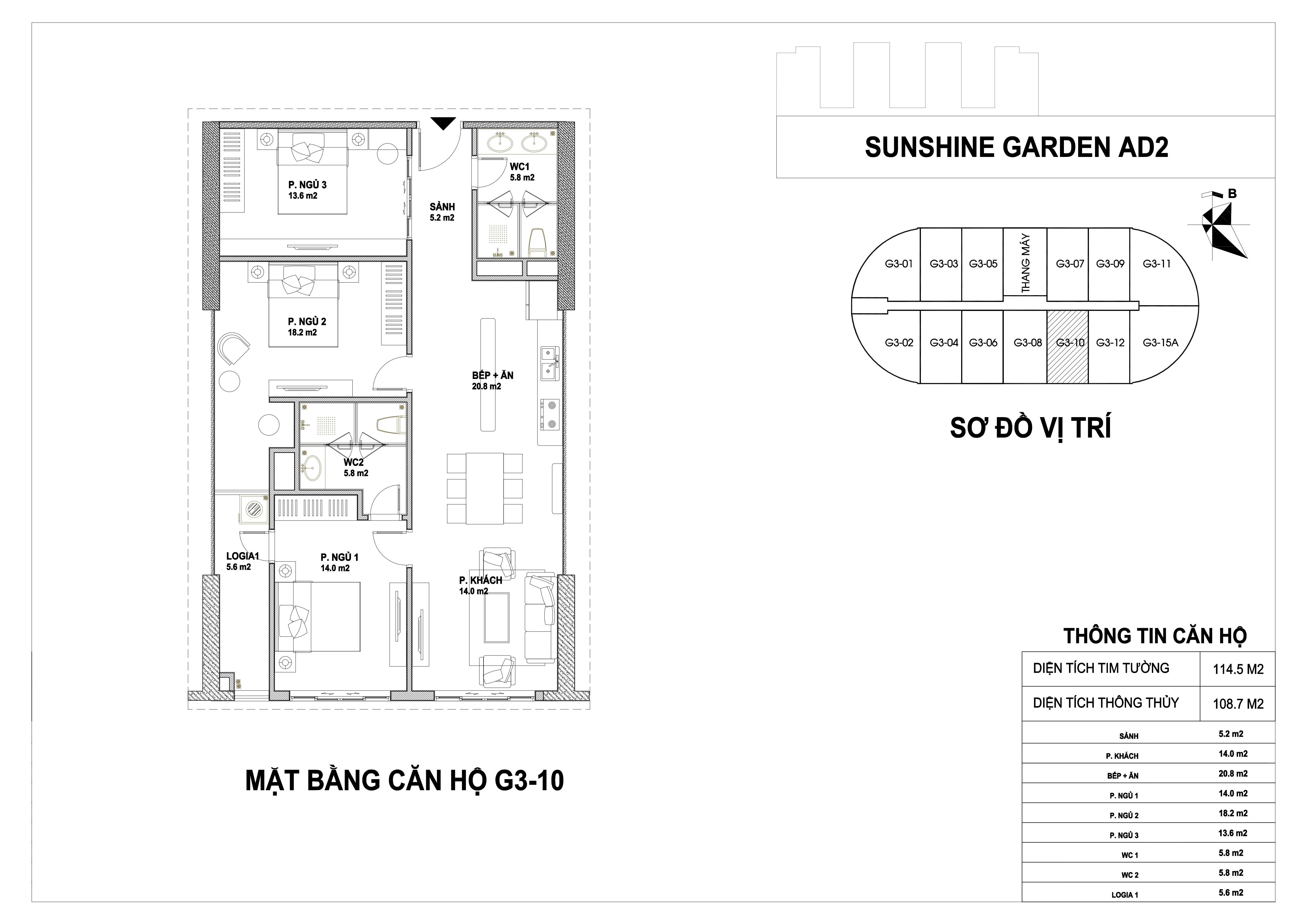 mặt bằng dự án căn hộ Sunshine Garden