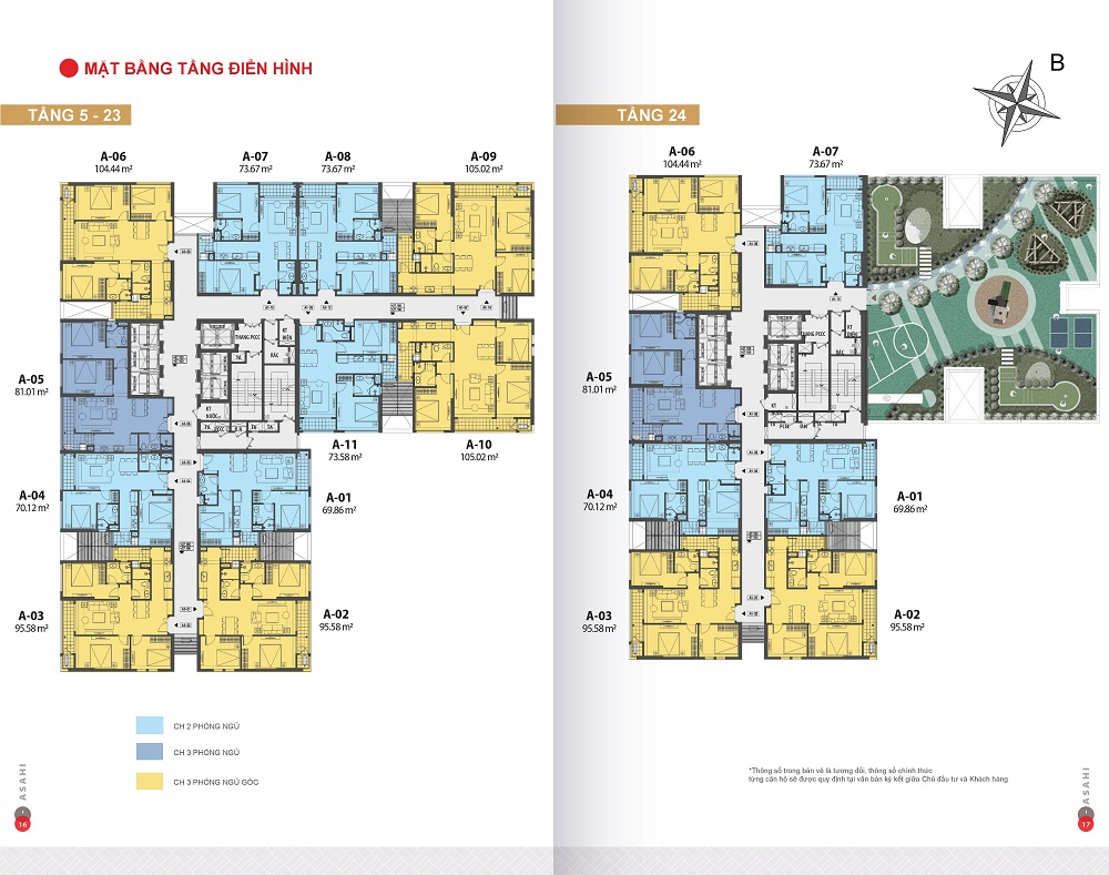 Mặt bằng điển hình tòa Asahi Dự án hinode city