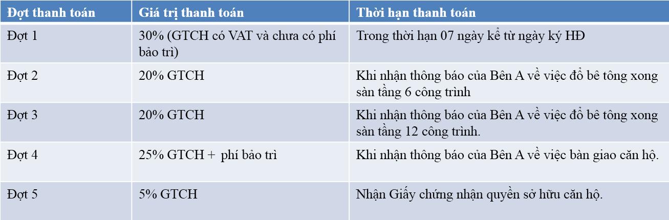 Tiến độ thanh toán dự án CT15 Việt Hưng Green park