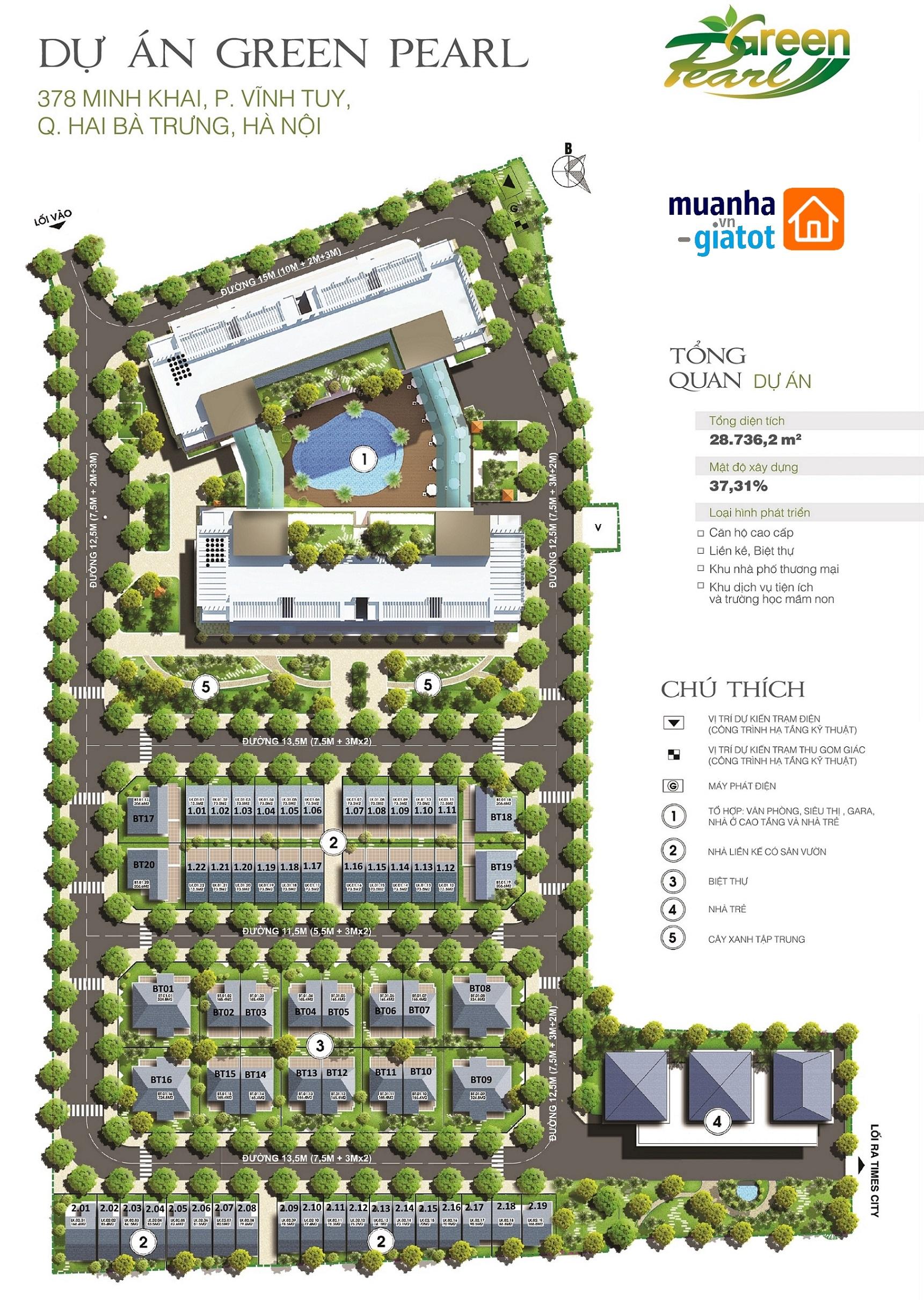 Tổng thể mặt bằng dự án Green Pearl 378 Minh Khai