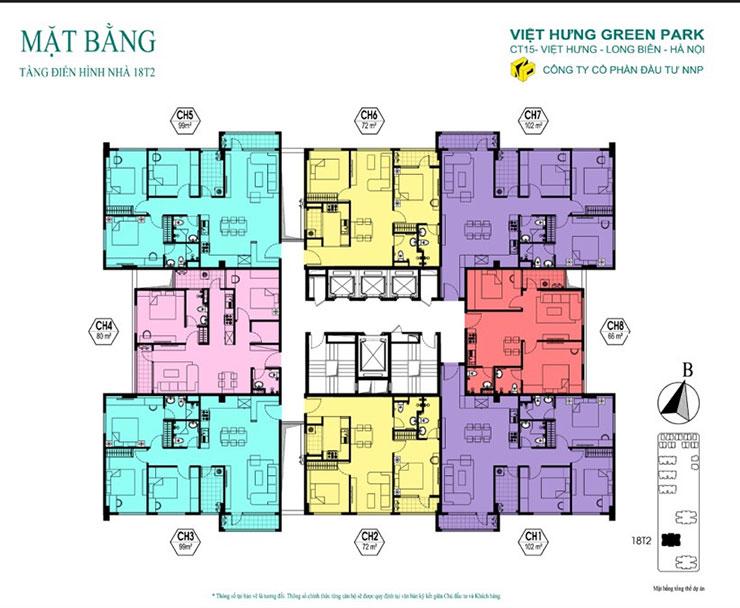 Mặt bằng căn hộ 18T2 - KĐT Việt Hưng Green Park
