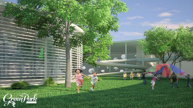 Cây xanh cảnh quan - tiện ích KĐT CT15 Việt Hưng Green Park