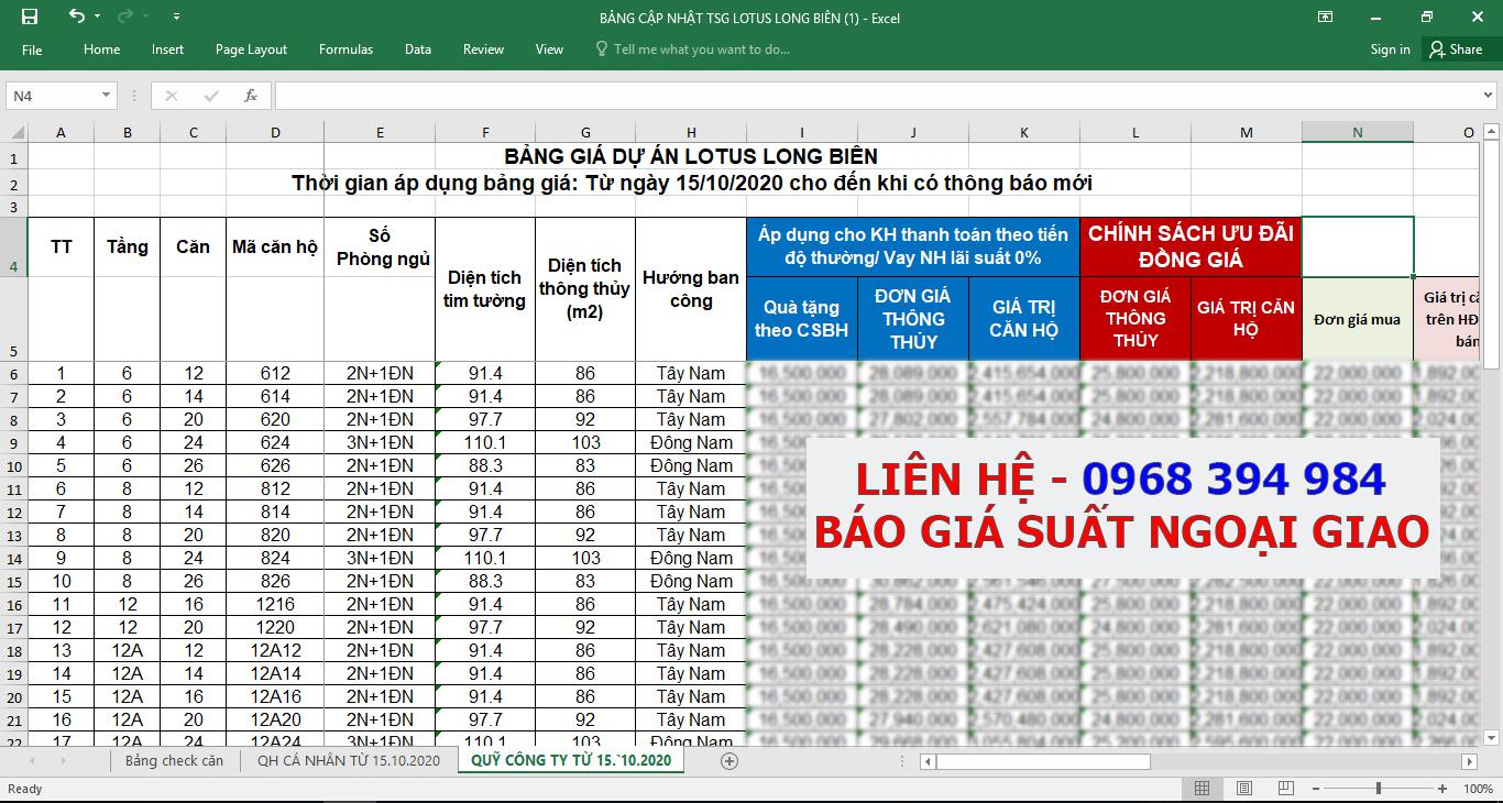 Bảng giá dự án TSG Lotus 190 Sài Đồng