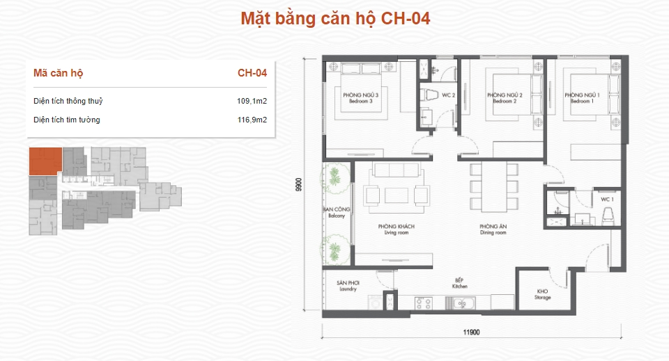 Mặt bằng căn hộ 2-3PN Berriver Long Biên