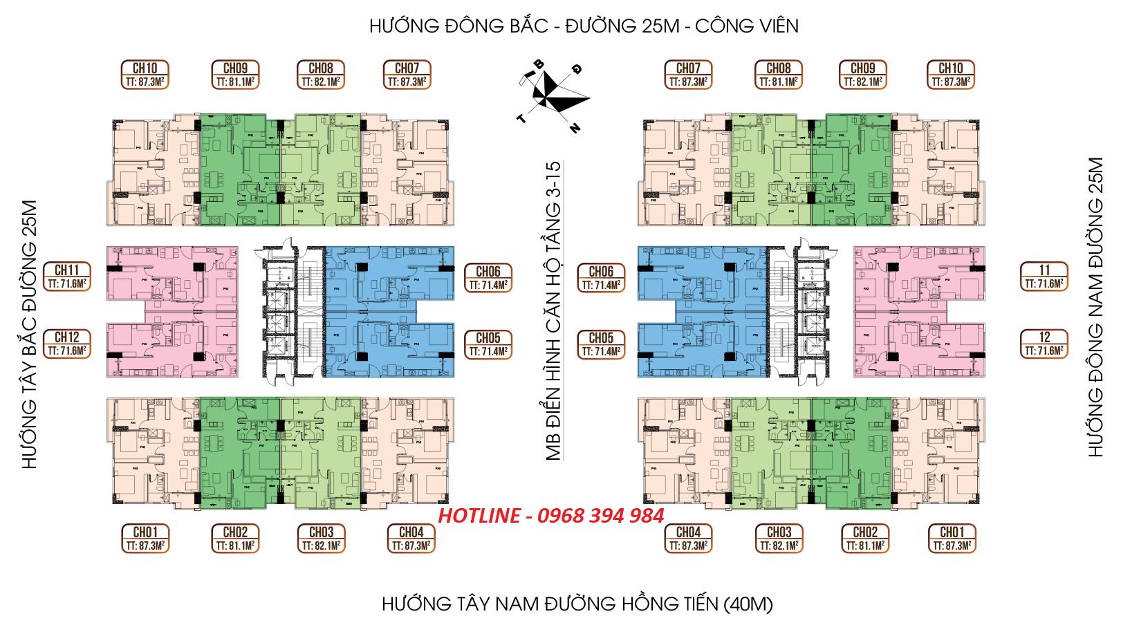 Mặt bằng điển hình tầng 16-25 HC Golden City