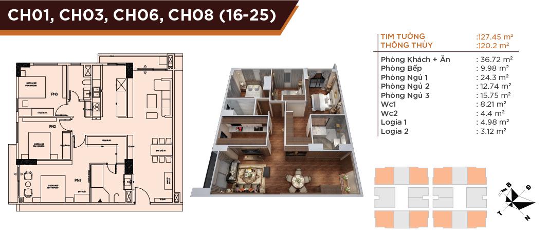 Mặt bằng căn hộ dự án HC Golden City Bồ Đề