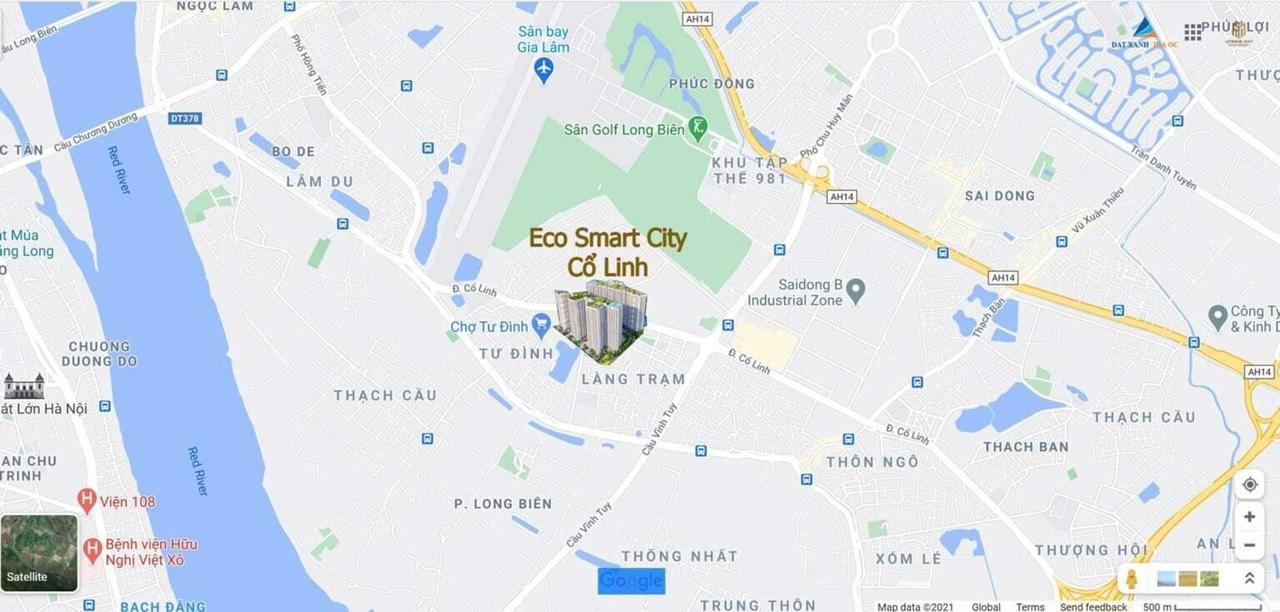 Vị trí dự án Eco Smart City Long Biên