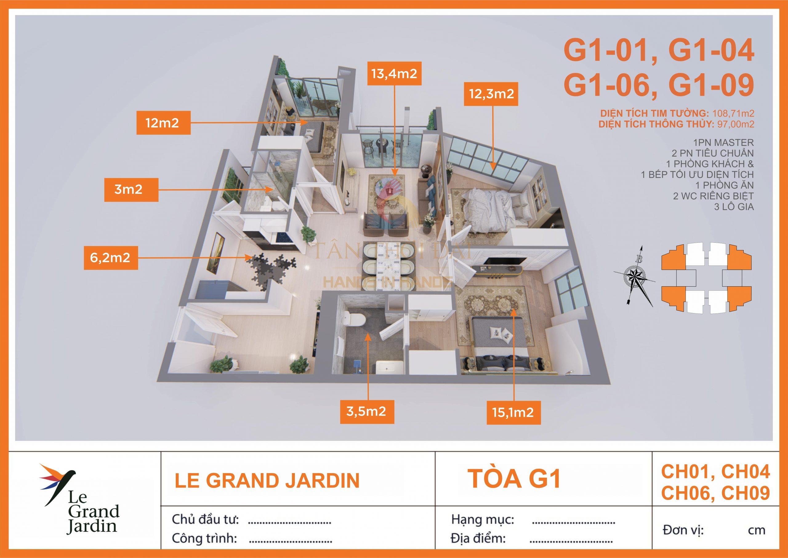 Căn góc 97m2 3PN 2WC Le Grand Jardin