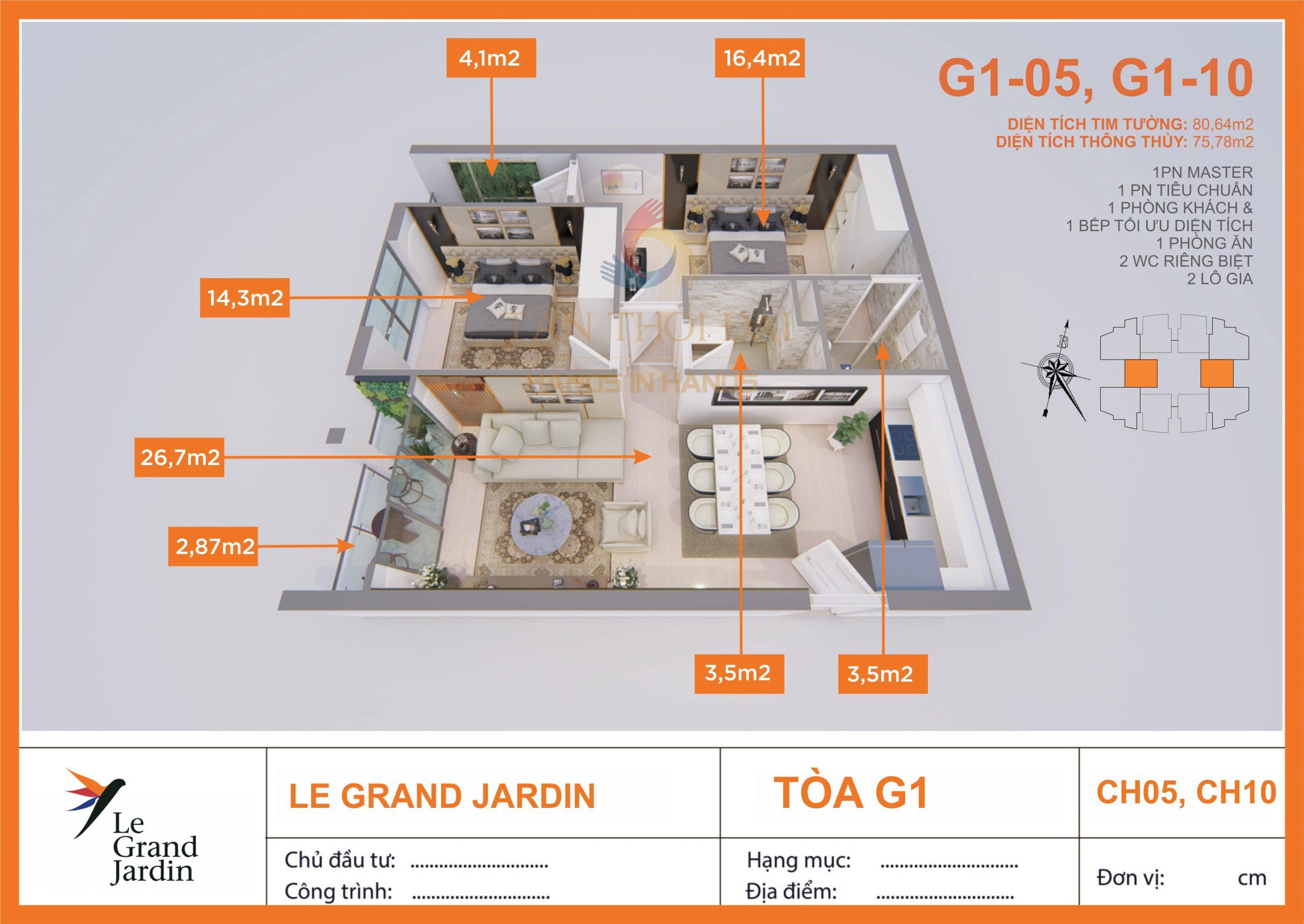 Căn 76m2 2PN 2WC Le Grand Jardin