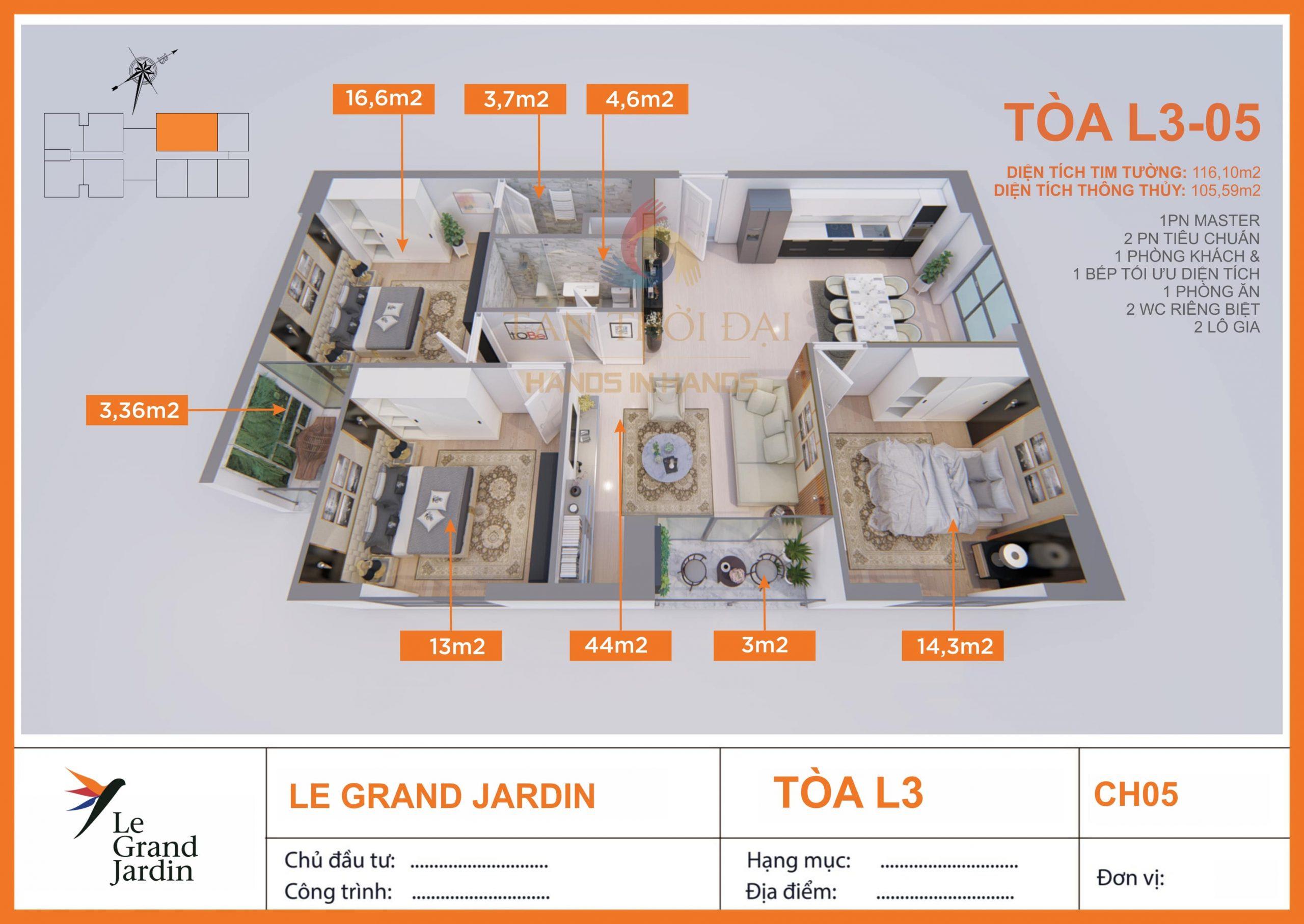 Căn 105m2 3PN 2WC Le Grand Jardin